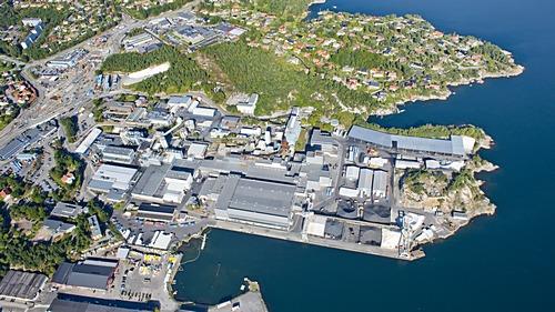 Flyfoto av Elkem Carbon i Kristiansand